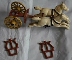 Antique Cast Iron Horse Drawn Missing Fire Truck Engine Toy W/firemen Wagon