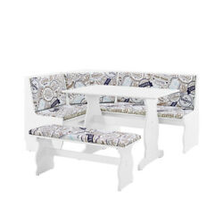 Saltoro Sherpi 5 Piece Wooden Nook Set With Fabric Upholstered Cushioned Seat