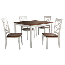 Saltoro Sherpi 5 Piece Wooden Dining Set With 1 Table And 4 Chairs, Brown And