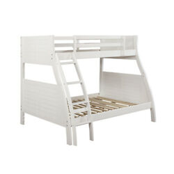 Saltoro Sherpi Wooden Twin Over Full Bunk Bed With Attached Curved Ladder White