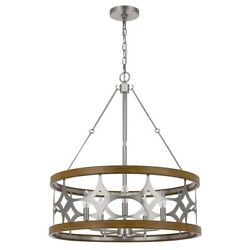 Chandelier With Metal Drum Shade And Geometric Cut Out Pattern Silver Saltoro