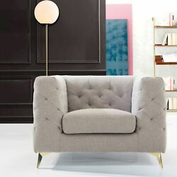 Lettie Accent Club Chair Linen Textured Upholstery Plush Tufted Shelter Arm