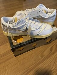 Off White X Nike Dunk Low Andldquodear Summer 01 Of 50andrdquo Metallic Silver Butter Size 11