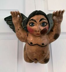 Large Primitive Whimsical Vintage Angel/cherub Paper Mache And Clay Hollow