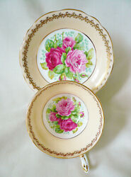 Signed Eb Foley England Lush Pink Roses Gold Scroll Floral Teacup Tea Cup