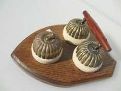 Vintage Brass And Ceramic Light Switches Switch X3 Antique Old Jelly Mould Dolly