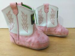 John Deere Girls Infant Pink Ostrich Leather Embroidered Boots 1 M