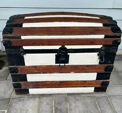 1800s Large Antique Victorian Dome Top Wood Metal Chest Steamer Trunk