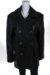 Chrome Hearts Mens Double Breast Leather Coat Black Size Large