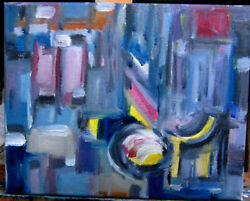 abstract Brighter Days Ahead modern oil painting 8x10 canvas original Crowell US