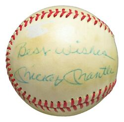 Mickey Mantle Signed Autograph Baseball Oal Macphail Ball Best Wishes Psa/dna