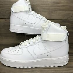 New Size 10 Nike Air Force 1 High '07 Triple White Cw2290-111 Men's Shoes No Lid