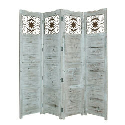 Saltoro Sherpi Wooden 4 Panel Screen With Textured Panels And Scrolled Details,