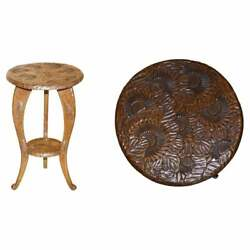 Antique 1905 Liberty London Japanese Carved Side End Lamp Wine Table Jardiniere