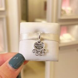 Authentic Pandora Silver 925 Charm 799360c00 Hearts And Paw Print Dangle
