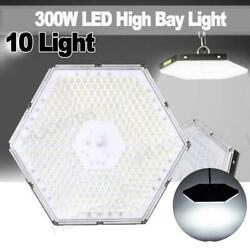 10x Led High Bay Light 300w Super Bright Warehouse Industrial Shed Lamp Chain