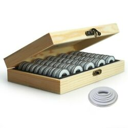 Wooden Coins Display Storage Box Case Fits For Collectible Coin W / 50 Capsules