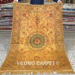 Yilong 4and039x6and039 Handknotted Silk Carpet Gold Antique Home Office Rugs Mc342c