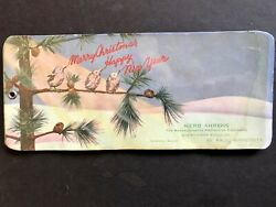 1926 Christmas 3 Birds In Pine Tree Celluloid Cover 3 Blotter Ahrens St Paul Mn