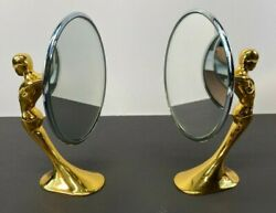 Gold Plated Art Deco Fender View Side Wing Mirrors Vintage Classic Car Mascot