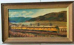 1963 Painting...railroad Union Pacific Yellow Train Exiting Tunnel In California