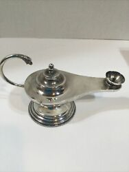"""Rare Antique Mexican Sterling Silver Taxco Genie Oil Lamp 6"""" Long"""