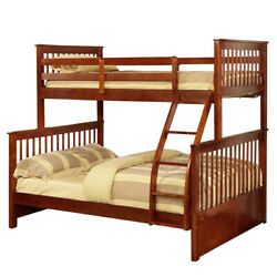 Saltoro Sherpi Mission Style Twin Over Full Bunk Bed With Slatted Headboard,