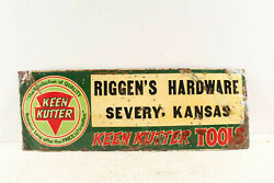 Antique Keen Kutter Tools Advertising Sign Riggenand039s Hardware Severy Kansas