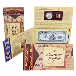 2001 D Native American Buffalo Silver Dollar Commem Coin And Currency Ogp Us Set
