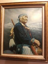 Z Garcia Native American Riding A Horse Oil Painting Signed And Framedvintage