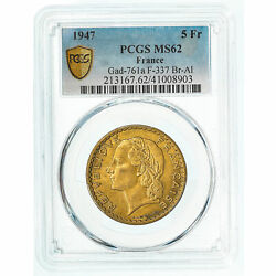 [909382] Coin France Lavrillier 5 Francs 1947 Pcgs Ms62 Ms60-62