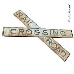 Vintage Antique Railroad Crossing Sign Cast Iron Crossbuckandnbspdouble Sided 6and039 Long