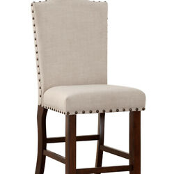 Saltoro Sherpi Rubber Wood High Chair With Studded Trim, Cream And Cherry Brown,