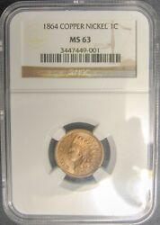 1864 Copper Nickel Indian Head Cent Ngc Ms63