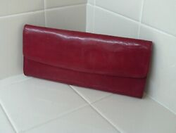HOBO INTERNATIONAL Red Leather Magnetic Close Clutch $20.00