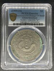 1909-11 China Szechuan Dollar Silver Coin Y-243.1 Lm-352 Andforall Pcgs Vf-details