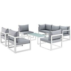 Fortuna 8 Piece Outdoor Patio Sectional Sofa Set White Gray Size