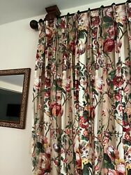 Pair Custom Floral Lined Pinch Pleat Drapes Curtains Panel 95, Extra Wide 64