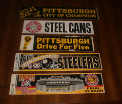 5 Pittsburgh Bumper Stickers Steelers - Iron City Beer - City Of Champs Pirates