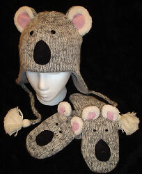 Special Ed Delux Koala Bear Hat And Mittens Set Knit Adult Costume Fleece Lined