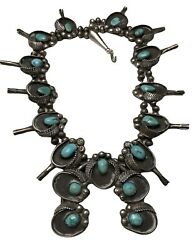 Vintage .925 Sterling Silver Navajo Turquoise Native American Squash Blossom