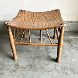 Antique Oak Egyptian Revival Thebes Stool Liberty Of London Style Arts And Crafts