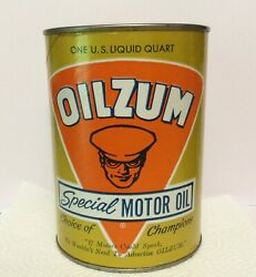 Oilzum Special Motor Oil Empty Can Sae 5w-20 Cardboard W/ Metal Top And Bottom