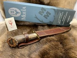 Muela Carved Podenquero Knife Stag Handles With Dagger Blade Leather Sheath Gj A