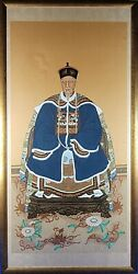 Large Hand Painted Chinese Ancestor Portrait Painting On Silk Framed 56x28