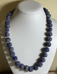 Antique Court Necklace Carved Dragon Lapis Chinese Estate Lot Jewelry Vtg