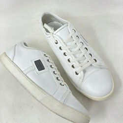 Dolce And Gabbana Sport Shoes Mens 9.5 White Leather Sneakers Euro 7.5 Lace Up Log