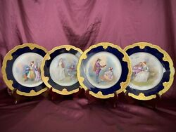 Antique Limoges Delinieres And Cie Hand Painted Rococo Courting Couple Plates Gilt