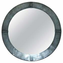 Fine Antique Libertyand039s London Hand Hammered Circa 1900 Pewter Round Wall Mirror