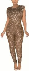 Aro Lora Womenand039s Sexy V Neck Sequin Mesh Bodycon Long Pants Party Jumpsuits Romp